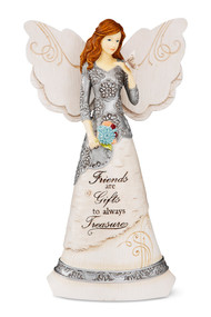 "8"" Angel holding Butterfly.  Inscribed with: ""Friends are Gifts to always Treasure"""