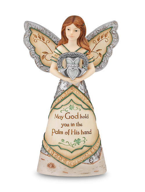 """8"""" Angel holding Claddagh. Inscribed with: """"May God hold you in the Palm of His Hand"""""""