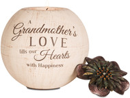 "5"" Round Tea Light Holder. ""A Grandmother's Love fills our Hearts with Happiness"" Comes with one tea light candle."