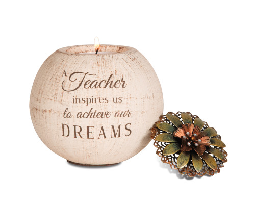 "Teacher 4"" Round Tea Light Holder. ""A Teacher inspires us to achieve our dreams"""