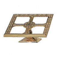 "Missal Stand with Ornate Square Base. Measures 8"" high to top of bookstop with 6"" square base. Distinctive modern edge design ~ Oven baked for durability. Your choice of bronze or brass with satin or high polish finish. Please allow 6-8 weeks for delivery"
