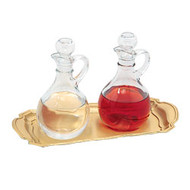 "Cruet & Tray Set. Satin Finish Brass Tray measures 7 1/4"" x 10"". Cruets 6"" High, 10 oz. Capacity. Tray and Cruets can be purchased separately"