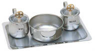 "Cruet & Tray Set. 6 1/2"" X 10"" stainless steel tray . Cruets are stainless steel with a gold plated cross on clear cover, 5 oz. Capacity. 4 1/2"" Bowl"