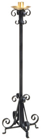 "Black Wrought Iron Floor Standing Paschal Candle Holder.  44"" Height to bottom of globe. Candle holder has a 14˝ base, 1-15⁄16˝ socket. Candle holder has a durable powdercoat finish. Call our Church Goods Department if a different socket size is needed."