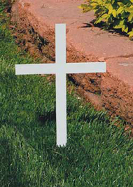"Memorial Cross without Plaque. Made of steel with a durable protective white powdercoat finish. 12"" Height overall, 8 1/4"" Width, 3/16"" Thick. Engraving Plaques - See Item KOL-ENG1. Mounted Plaques 1x3"". All Bright Brass Blank Plaques $9.50 . With ""In Memory of""and the deceased persons name engraved Flat Fee  $15.00. Engraving Plaques - See Item KOL-ENG1"
