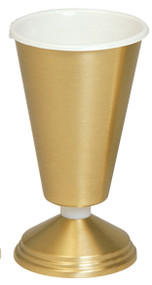 Vase with Aluminum Liner. 10˝H., 5˝ base. Metal nodes can be substituted for nylon at no extra charge.
