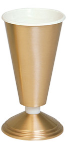Vase with Aluminum Liner. 12˝H., 6˝ base. Polished brass. Metal nodes can be substituted for nylon at no extra charge.