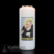 Padre Pio 6-Day Glass BottleLight Candle. Non-reusable.  Candles can be purchased individually or as a case (12 candles)