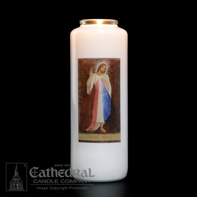 6 Day Glass Bottle Candle ~ Divine Mercy. Full color image produced on highly durable film. Candles can be purchased individually or as a case (12 candles)