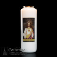 6-Day Glass Bottle Candle ~ Full color image, produced on highly durable film.  Candles can be purchased individually or as a case (12 candles)
