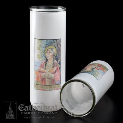 St. Kateri 3 Day or  5/6/7 Day Reusable Glass Globes ~ Full color image, produced on highly durable film. For use with Inserta Lites. Globes are sold Individually or by the case (Box of 12) - Please make selection. Inserta Lite Candles are purchased separately