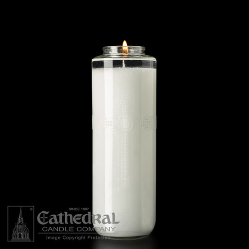 Sanctuary Lights, 8 Day Glass SacraLites. Manufactured using select refined waxes for a dependable and clean 8 day burning performance. Bottle style. 1 dozen per case, Bulk rates apply.