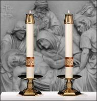 "We celebrate - ""Why do you search for the living one among the dead? He is not here, he has been raised up."" This pair of ""Luke 24"" Altar Candles complement Paschal Candle ""Luke 24"""