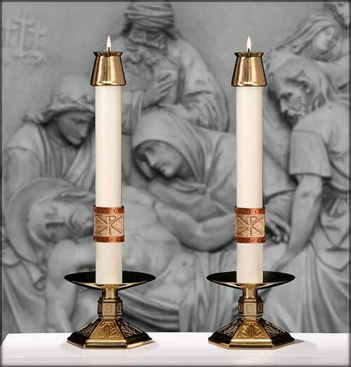 """We celebrate - """"Why do you search for the living one among the dead? He is not here, he has been raised up."""" This pair of """"Luke 24"""" Altar Candles complement Paschal Candle """"Luke 24"""""""