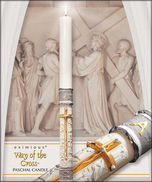 """The """"Way Of The Cross""""™ is an imposing 51% beeswax paschal candle created with precise, skilled handwork that portrays the 14 stations of the cross in sculptured images of high relief. The brilliant cross with its faceted appearance of hand wrought gold is a striking contrast to the rough cut, grey stone-like bands trimmed with burnished hand wrought silver. Complimantary to both traditional and contemporary church decors! Due to the workmanship required to benchcraft each candle, please allow four weeks for the creation and delivery of your paschal candle"""