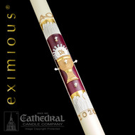 "The 12 Apostles 51% beeswax paschal candle is a masterpiece of ecclesiastical design and skilled artistic craftsmanship. ""The 12 Apostles,""™  is a dramatic expression of spiritual adoration, gloriously presented with rich gold, royal velvet, red and pure white hand-made wax symbols of the season; The Holy Eucharist, instituted by Jesus on the eve of His passion at the ""Last Supper"", the  12 Apostle witnesses and scribes to the passion, death, resurrection and ascension of our Lord.  Every 12 Apostles paschal candle is made to order, individually benchworked and hand tooled.  The entire design ensemble is beautifully inlaid within a carved niche, recessed beneath the surface of the candle. Due to the workmanship required to benchcraft each candle, please allow four weeks for the creation and delivery of your paschal candle"