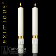 """The 12 Apostles 51% beeswax  altar candles are a masterpiece of ecclesiastical design and skilled artistic craftsmanship.""""The 12 Apostles,""""™  is a dramatic expression of spiritual adoration, gloriously presented with rich gold, royal velvet, red and pure white. These altar candles complement Paschal Candle """"12 Apostles"""""""