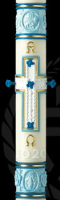 "Eximious® Paschal Candle the ""Most Holy Rosary"" - Newest design from Eximious, features the rich symbolism of the Virgin Mary. The Marian Blue, is the glorifying color scheme of this reverent Paschal design which draws focus to the Rosary adorned Cross as its center piece. The Agnus Dei Crowns design as the feature element of the top band, while the bottom band at the foot of the Cross is graced with the Miraculous Medal surrounded by Roses and Fleurs-de-lis.   Due to the workmanship required to benchcraft each candle, please allow four weeks for the creation and delivery of your paschal candle"