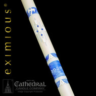 Ascension™ 51% beeswax paschal candle heralds the risen Christ and features meticulous craftsmanship in an artistic pallet of soft celestial hues in sky blue and angelic white.  The glorious center cruciform presents the appearance of movement and rises upward from the flowing alpha and omega toward the ascending dove...symbol of the Holy Spirit.  During Easter Vigil Services, the five nail tiles are placed in the cruciform, sealing the incense grains.  Due to the workmanship required to benchcraft each candle, please allow four weeks for the creation and delivery of your paschal candle
