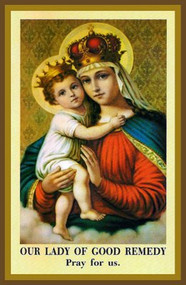 """Foldable 4"""" x 6"""" Our Lady of Good Remedy Prayer Card. Card  contains the Novena Prayer to Our Lady of Good Remedy and information on the history of the devotion."""