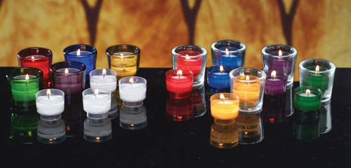 These convenient 4 hour disposable plastic votive lights virtually eliminate glass clean up and breakage.  Can be burned in a votive glass or metal stand.  Sold in Gross Quantities Only (144 per box) and in several different colors: Rose, Crystal, Blue, Amber, Purple, Green and Ruby
