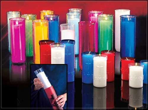 3, 5, 6 Day  Inserta-Lite® for use with Reusable Glass Globes. Clear plastic candle refills with the insulation of reusable glass globes, the Inserta-Lite® system provides an economical alternative to traditional glass offering candles. The Inserta-Lite® provides superior offering candle performance without the weight and breakage associated with other glass offering candles.  Plastic inserta lites are sold Individually or by the case 3 Day 48/Case, 5 Day 24/Case, 6/7 Day 24/Case.