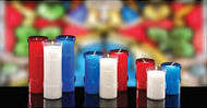 For the cleanest burning, only the finest select fully refined waxes are used in creating these plastic shells adorned with crosses.   The wicks are specially treated for even cleaner burning. Plastic stand alone 3 and 5 day candles by the case. 5 day lights come in 2 dozen to a case and 3 day lights are 4 dozen to a case. Devotiona lites come in a variety of colors: Ruby(Red), Dark Blue, and Clear. When ordering 5 or more cases please call 1 800 523 7604 for bulk pricing. SEE OUR SPECIAL FOR 6 DAY DEVOTIONA LITES.  BUY 2 GET A 3RD CASE FREE!! WHILE SUPPLIES LAST