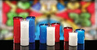 For the cleanest burning, only the finest select fully refined waxes are used in creating these plastic shells adorned with crosses.   The wicks are specially treated for even cleaner burning. Plastic stand alone 3, 5 or 6  day candles by the case. 5 day lights come in 2 dozen to a case and 3 day lights are 4 dozen to a case. Devotiona lites come in a variety of colors: Ruby(Red), Dark Blue, and Clear. When ordering 5 or more cases please call 1 800 523 7604 for bulk pricing. SEE OUR SPECIAL FOR 6 DAY DEVOTIONA LITES.  BUY 2 GET A 3RD CASE FREE!! WHILE SUPPLIES LAST