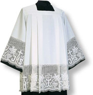 Washable surplice-alb, matching surplice-alb 444-3382; pulled over the head. In RAVENNA, with lace. Square neck with four pleats front and back.  Easy to launder, wash-and-wear fabric Normally ships within 32 working day(s), with the exception of hand-embroidered and custom orders. All sizes measured from top of shoulder to hem.  These items are imported from Europe. Please supply your Institution's Federal ID # as to avoid an import tax.  Please allow 3-4 weeks for delivery if item is not in stock.