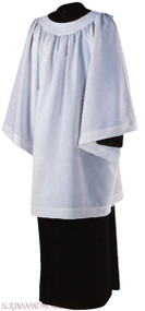 "Permanent Press Liturgical Surplice is knee length, with a Round Yoke. 65% Polyester/35% Combed Cotton. Available Sizes: Small (38""), Medium (40""), Large (42"") & Extra Large (44"")"