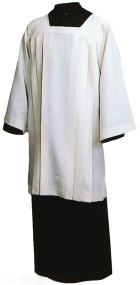 "Ecumenical Surplice is knee length, with a Square Yoke with long sleeves Style 360 Polyester Cotton Style 363 100% Polyester Style 367 100% Ivory Polyester Small (35""), Medium (37""), & Large (39"") Sizes available"