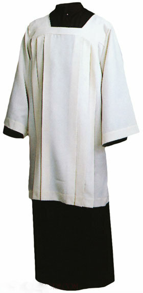 """Ecumenical Surplice is knee length, with a Square Yoke with long sleeves Style 360 Polyester Cotton Style 363 100% Polyester Style 367 100% Ivory Polyester Small (35""""), Medium (37""""), & Large (39"""") Sizes available"""