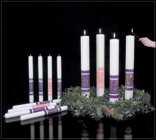 This stunning execution of 51% Beeswax Advent candles will add a distinctive touch to this advent season of preparation and anticipation.  Natural candles that visibly burn down -accentuating the passing of time! Many sizes to choose from and available in Purple, Rose, Sarum Blue and White