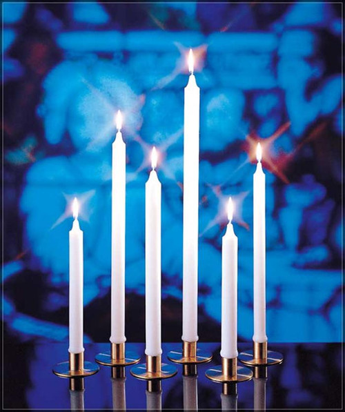 Known for their beauty and long, clean-burning performance, these candles are ideal for a variety of religious observances.  Order plain or self fitting ends.