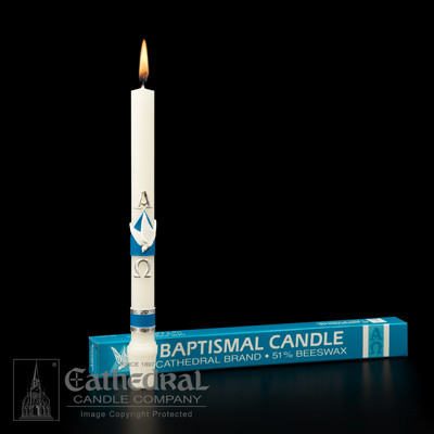 """The Alpha and the Omega. 51% Beeswax Baptismal Candle with Symbolic Raised Wax Ornaments. 11/16"""" x 9 1/2"""" with S.F.E. End. Sold singly or by the case of 24."""