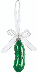 Wonderful ornament for a delightful Christmas Tradition. Made of blown glass, with a ribbon to hang from your tree. Comes in nice gift box.Legend of the Christmas Pickle tradition is printed on the box. Great gift for everyone. New marriage, new child, new home!