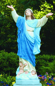 """The Assumption of Mary 55"""" Cement Garden Statue  Details:  Height 55"""" 34""""Width 17""""Base Octagonal Weight: 329 lbs Detailed stain or natural cement finish Made to order. Please allow 4-6 weeks for delivery. Made in the USA"""