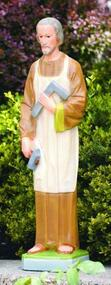 "This classical statue of Saint Joseph the Carpenter is a unique and beautiful option for your garden. This statue features Saint Joseph holding his carpenter tools. Get this statue in a detailed stain or natural cement finish.  Details: Dimensions: 24.25""H x 5.5""B, Weight 22lbs Made in USA. Handcrafted! Allow 4-6 weeks for delivery."