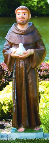 """This 44"""" handcrafted outdoor cement statue of Saint Francis is designed with St. Francis holding a bird. This religious garden statue comes in two finishes — detailed stain and natural (cement) finish. Dimensions:  Height 44""""; Width 15""""; Length 12""""; Bw 11""""; BL 10.5"""". Weight 167 lbs. Allow 4-5 weeks for delivery.  Made is the USA"""