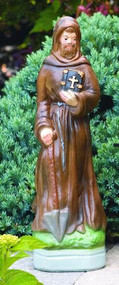"St Fiacre 123529 H: 30"", B: 9""Sq,  Weight: 67 lbs Saint Fiacre ~ Heights: 15"" & 29"". Statues vary in design, see individual pictures for specific information. Allow 3-4 weeks for delivery, PLEASE CALL FOR SHIPPING COSTS!   Made in the USA!"