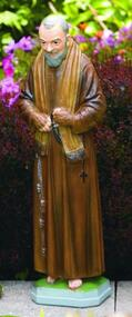 "This 26"" cement statue of Padre Pio will be a wonderful addition to your garden. The Padre Pio statue comes in two finishes Natural Cement finish and a Detailed Stain finish.   Statue is handcrafted and made to order so allow 4-6 weeks for delivery. Made in the USA.  St. Padre Pio 128526 H:25"", BW: 6.5"", BL: 5.5"" Weight: 30 lbs"