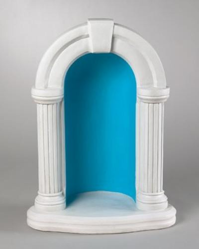 """This small keystone grotto is made with cast stone and is used with an 18"""" statue. You can choose a natural cement finish or a detailed stain finish. This is a beautifully designed grotto. Larger sizes available: 1130, 1135. The 26""""H  grotto fits an 18"""" statue. BW:19""""  BL:12  Weight: 95 lbs These grottos are hand crafted and made to order, please allow 4-6 weeks for delivery. Made in USA!"""