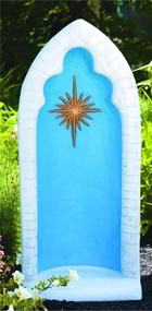 """This pointed detailed stained grotto is beautiful and detailed with a brilliant star in the center. You can get this grotto in two colors, natural cement or detailed stain. The stain features a blue background, white trim, and a gold star. This grotto is designed for a 26 inch statue.  Details:  38""""H 16.5""""BW x 11""""BL 122 lbs Allows 3-4 weeks for delivery Made in USA"""