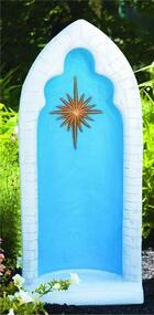 "This pointed detailed stained grotto is beautiful and detailed with a brilliant star in the center. You can get this grotto in two colors, natural cement or detailed stain. The stain features a blue background, white trim, and a gold star. This grotto is designed for a 26 inch statue.  Details: 38""H 16.5""BW x 11""BL 122 lbs Allows 4-6 weeks for delivery Made in USA"