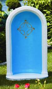"This beautiful round grotto features a unique star and cross detailing in the center. This grotto comes in a natural cement color or comes in a detailed stain. The stain features a blue inside with white borders and gold star detailing. This grotto has a height of 49 inches and can fit a 36 inch statue. dimensions:  49"" H,  BW  29"",  BL 18.5"",  Weight 295 lbs Handcrafted and made to order. Please allow 4-6 weeks for delivery Made in the USA"