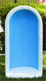 """34"""" Round Embossed Dot Grotto for 26"""" Statue. The cast stone round embossed dot grotto is beautifully and simply detailed. You can choose natural cement coloring or detailed stain that includes a blue background and white trim. Grotto is handcrafted and made to order. Allow 4-6 weeks for delivery Made in the USA 34""""H Round Embossed Dot Grotto for 26"""" Statue H: 34"""", BW: 17"""", BL: 12"""" Weight: 110 lbs"""