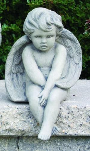 """Cement Sitting Cherub ~ H: 12"""", W: 7.5"""". Wt: 14 lbs. Made to order.... Allow 3-4 weeks for delivery. Made in the USA!"""
