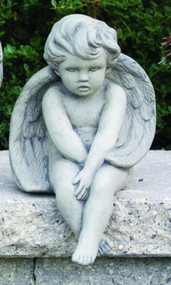 "Statue of cherub sitting in a natural cement finish. This sitting cherub statue can make an adorable addition to your garden. This statue features a cherub sitting with their ankles crossed and hands in their lap. Dimensions: 12""H x 7.5""W Weight: 14 lbs Made to order Made in the USA Allow 4-6 weeks for delivery."