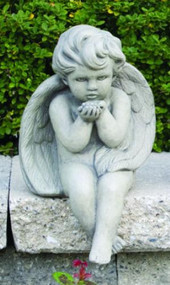"Sitting Baby Angel Blowing Kiss Cement Garden Statue Dimensions:  Height: 12"" Width: 7.5""  Weight: 14 lbs. Handcrafted and Made to order...Allow 4-6weeks for delivery.  Made in the USA!"