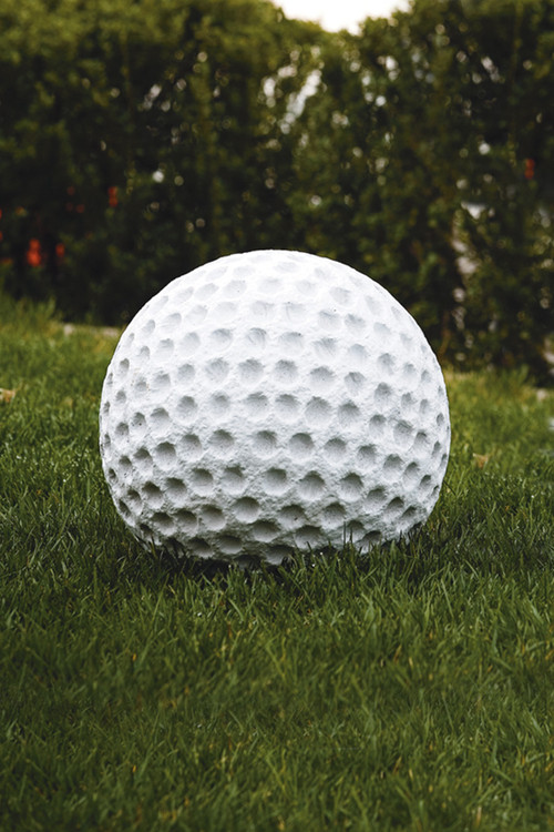 Golf Ball Lawn Ornament.  Decorate your lawn with this whimsical garden ornament and show your spirit for the sport! Diameter: 12″, Weight: 75lbs. If item not in stock please allow 3-4 weeks for delivery. Made in the USA!